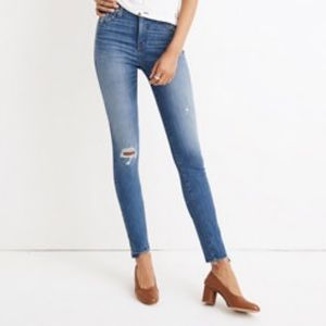 "Madewell 10"" high-rise skinny jeans drop step-hem"